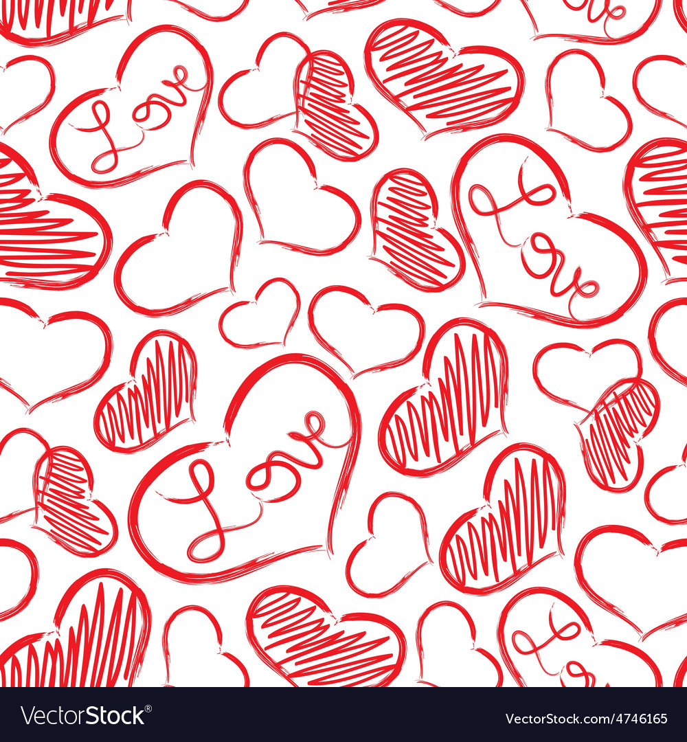 Red love heart symbols grunge hand-drawn pattern vector | Price: 1 Credit (USD $1)