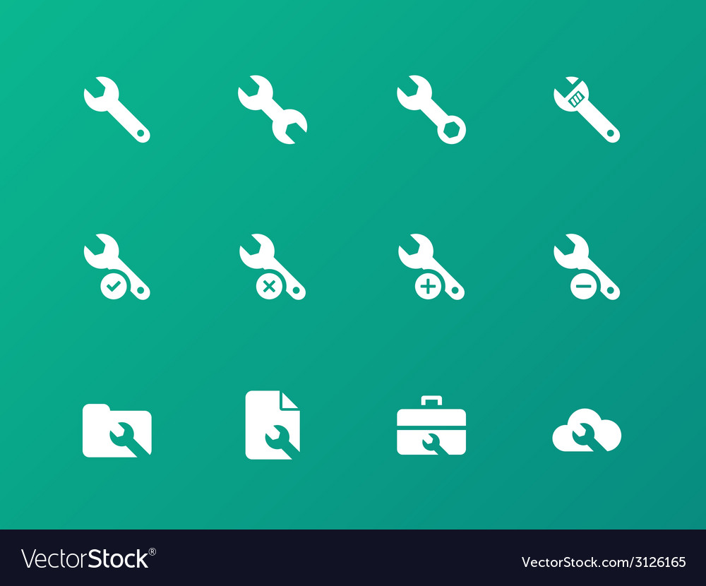 Repair wrench icons on green background vector | Price: 1 Credit (USD $1)