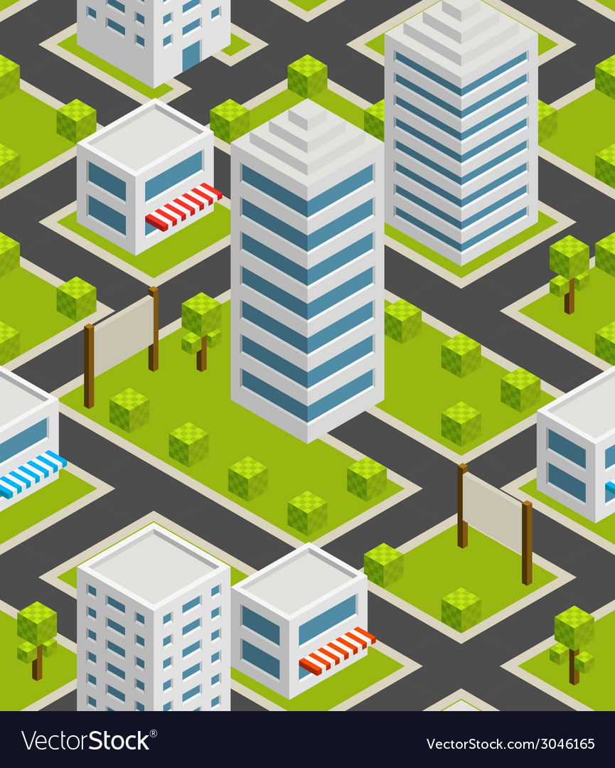 Seamless background city isometric vector | Price: 1 Credit (USD $1)
