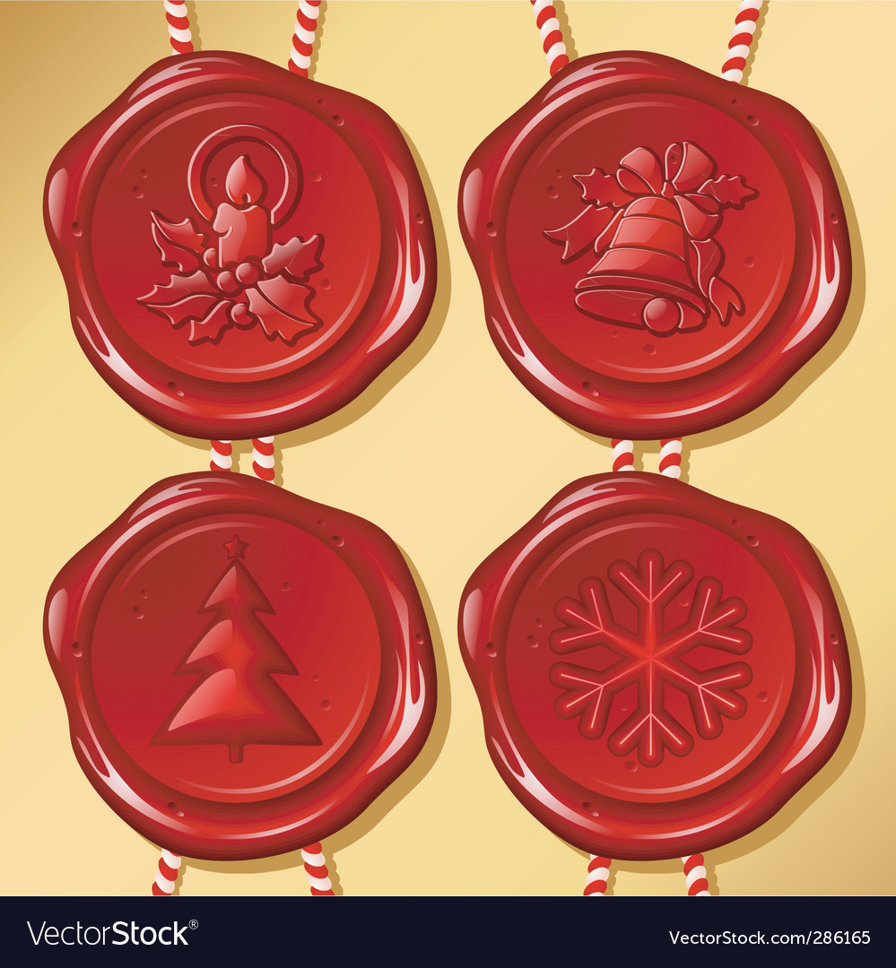 Set of christmas sealing wax vector