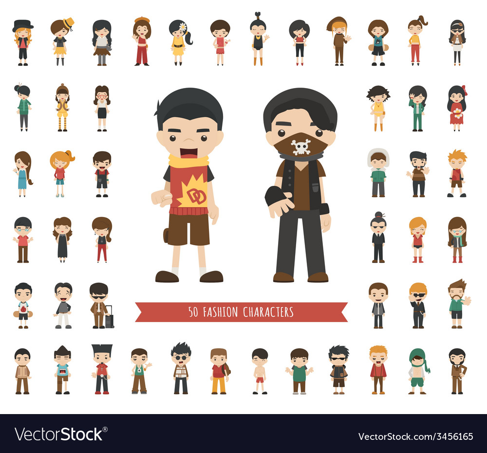 Set of fashion character vector | Price: 1 Credit (USD $1)
