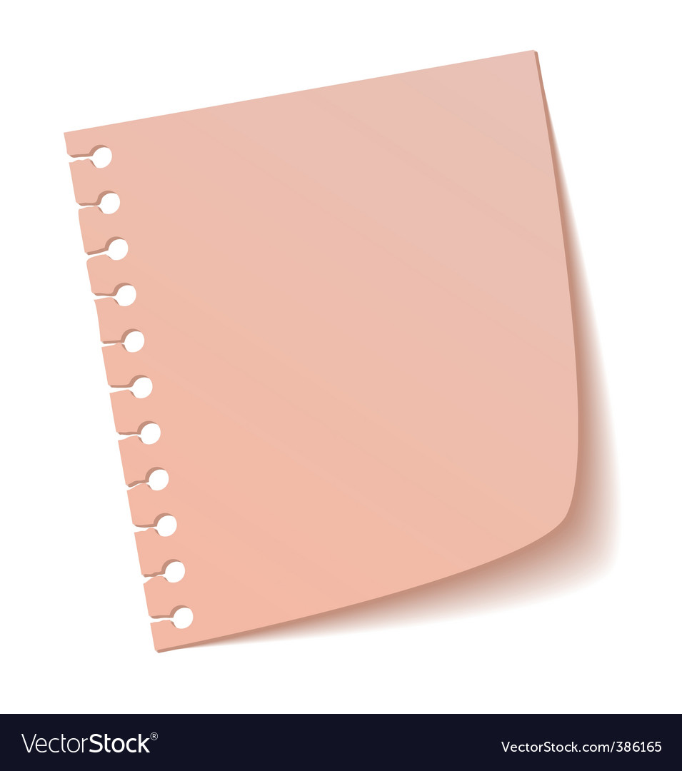 Sheet of notebook pink vector | Price: 1 Credit (USD $1)
