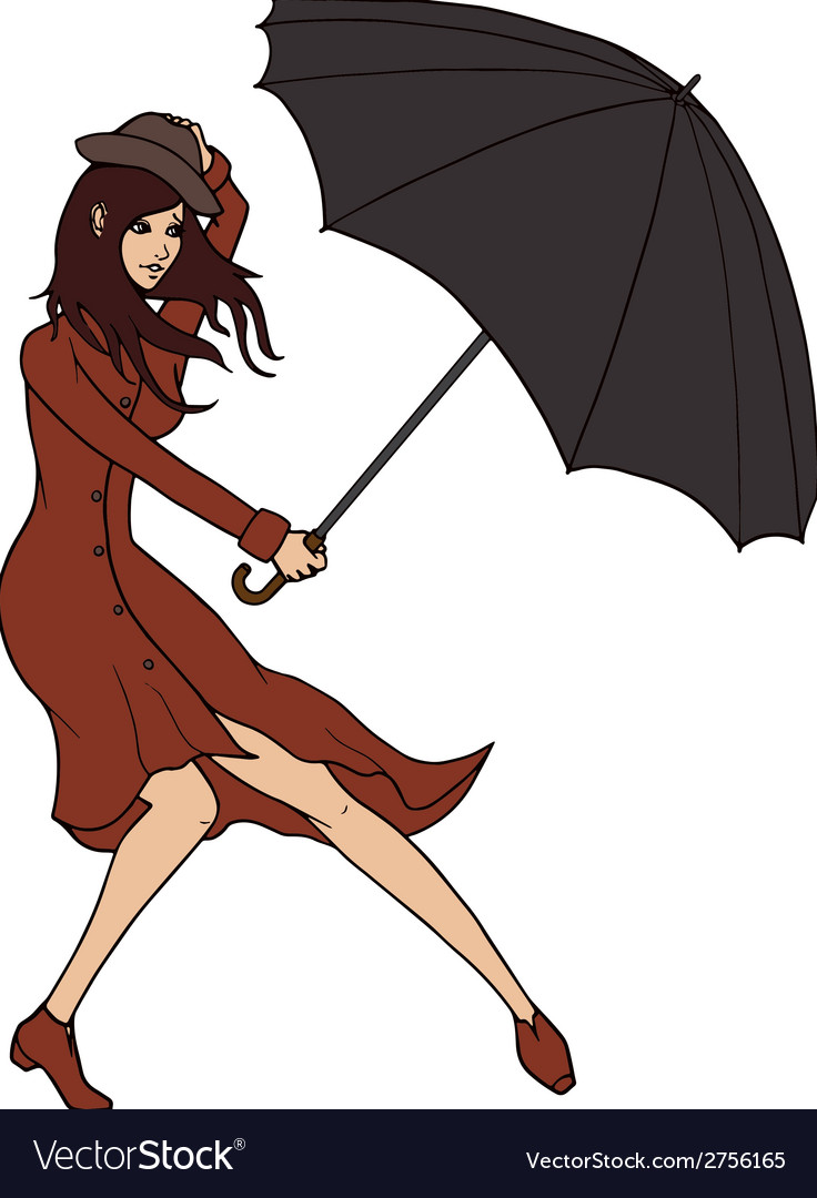 Young woman holding an umbrella against the wind vector | Price: 1 Credit (USD $1)