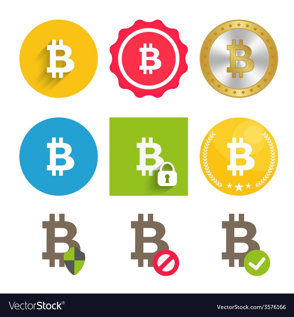 Bitcoin icons set vector | Price: 1 Credit (USD $1)