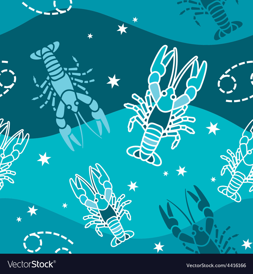 Cancer - zodiac seamless pattern vector | Price: 1 Credit (USD $1)