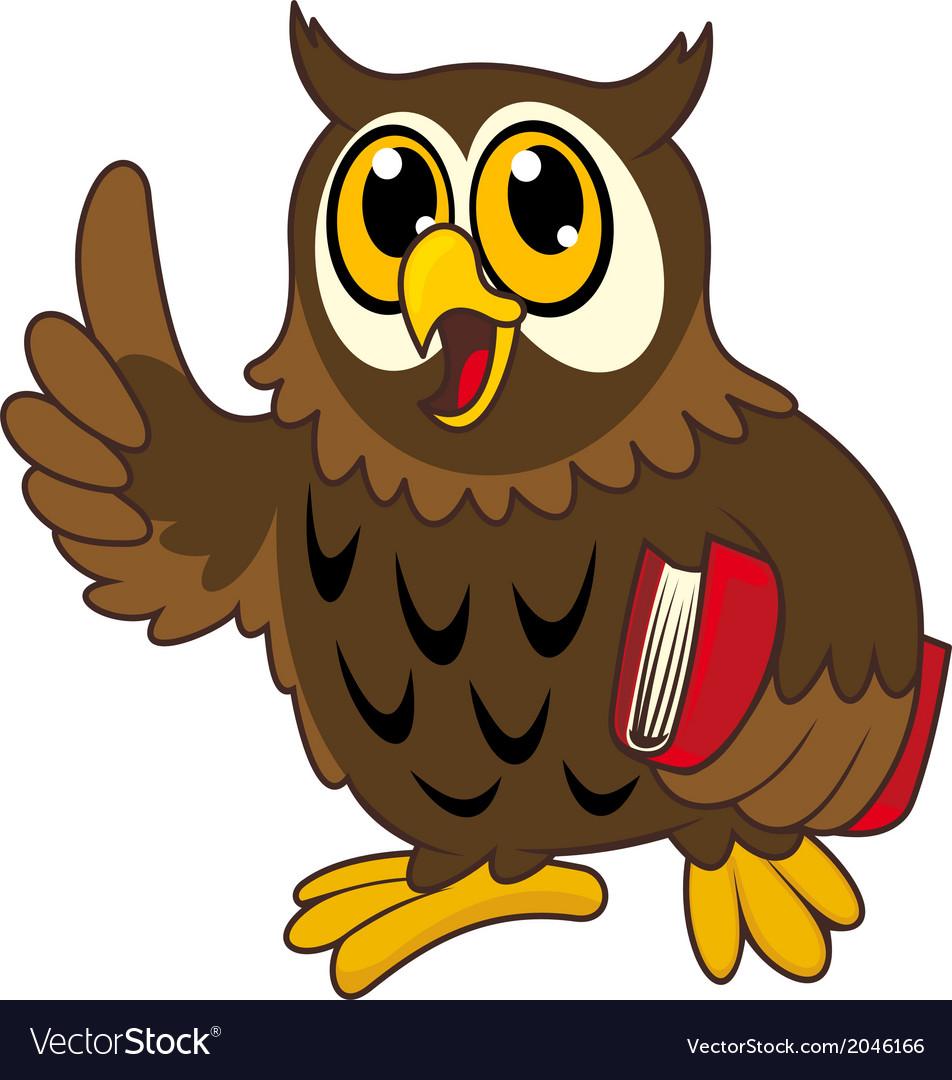 Cartoon owl bird with book vector | Price: 1 Credit (USD $1)