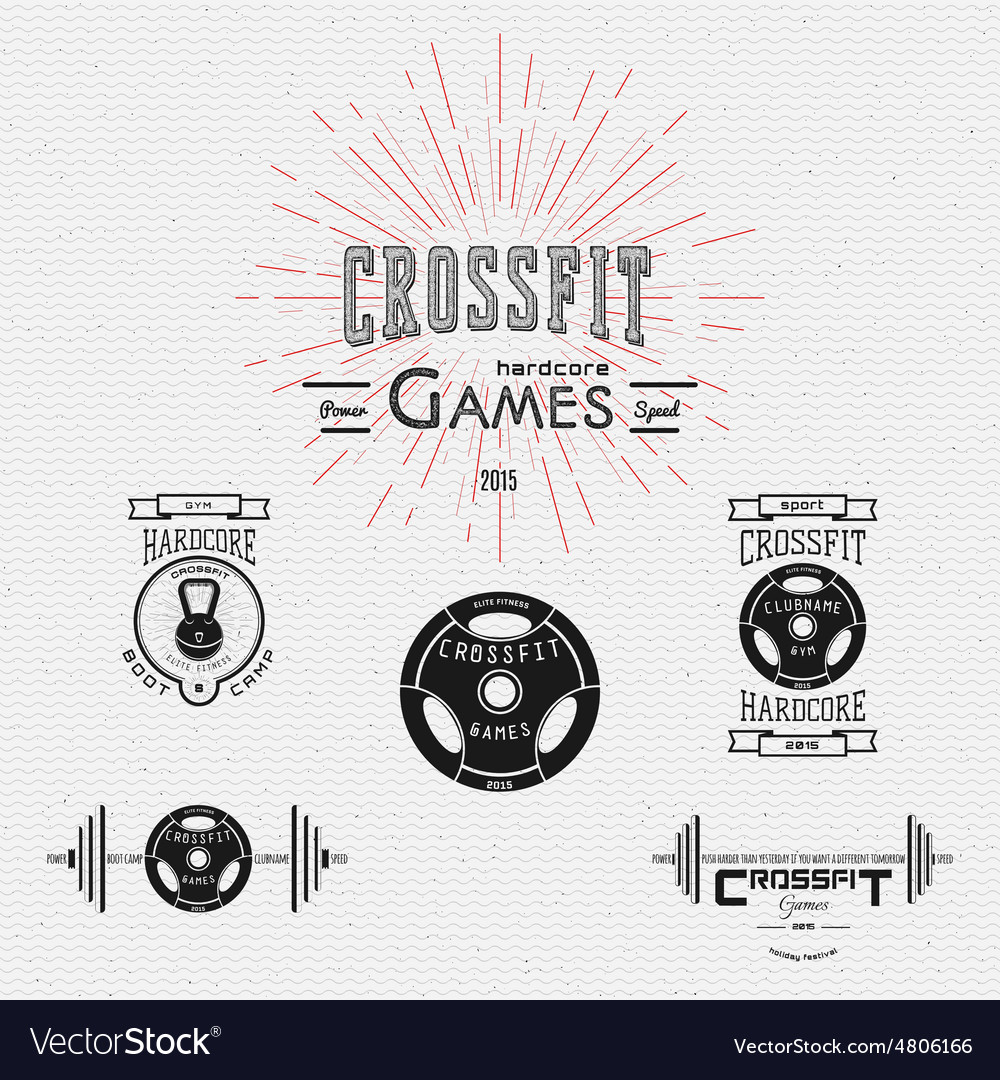 Crossfit badges logos and labels for any use vector