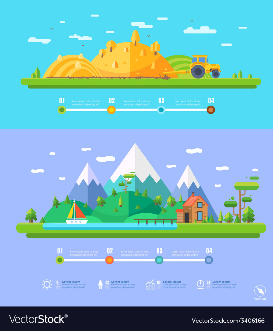 Ecology infographic elements flat design vector | Price: 1 Credit (USD $1)