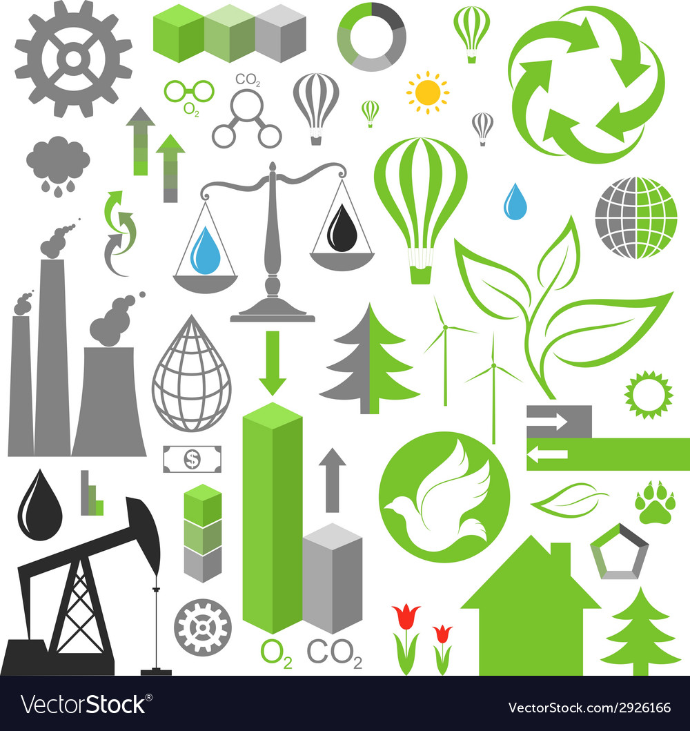Environment pollution set of infographics vector | Price: 1 Credit (USD $1)