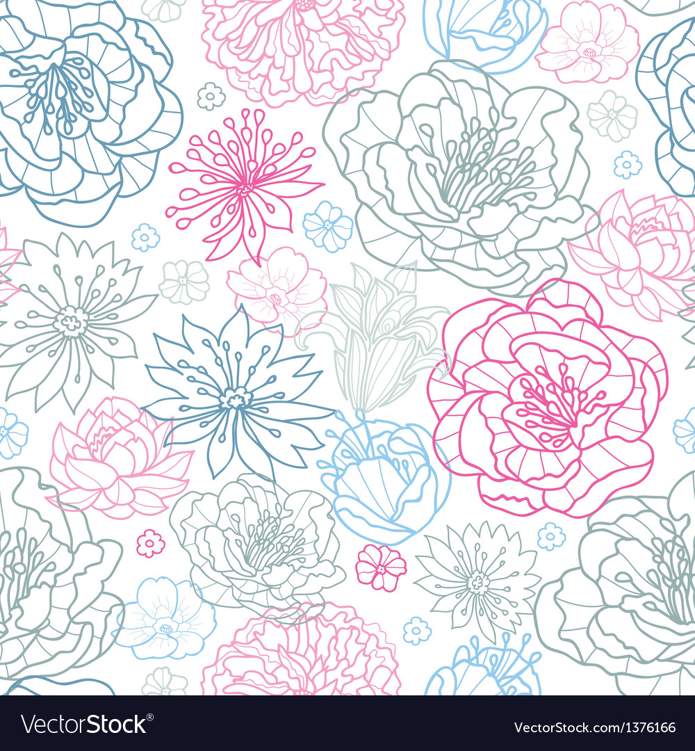 Gray and pink lineart florals seamless pattern vector | Price: 1 Credit (USD $1)
