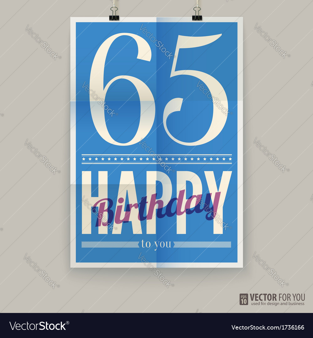 Happy birthday poster card sixty-five years old vector | Price: 1 Credit (USD $1)