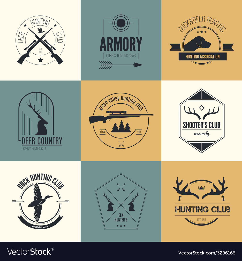 Hunting logos vector | Price: 1 Credit (USD $1)