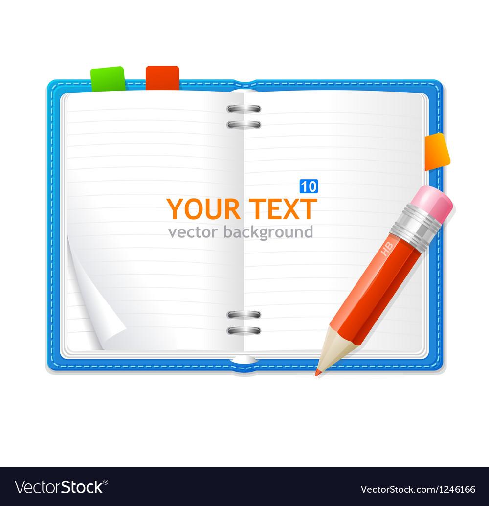 Open personal organizer book vector | Price: 3 Credit (USD $3)