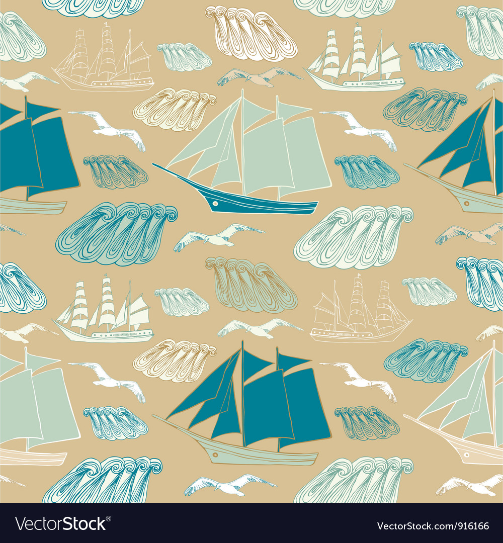 Seamless pattern with sea and ships vector   Price: 1 Credit (USD $1)