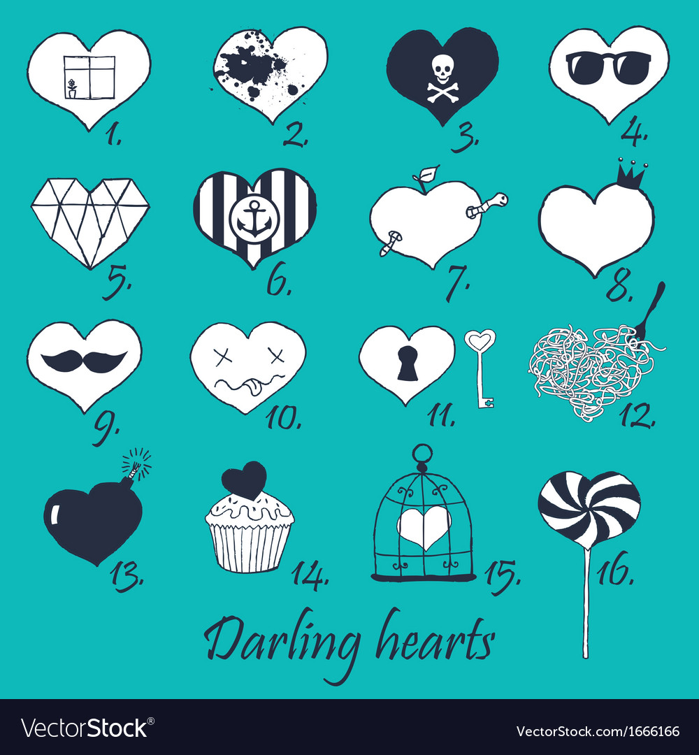 Set of stylized hand drawn hearts vector | Price: 1 Credit (USD $1)