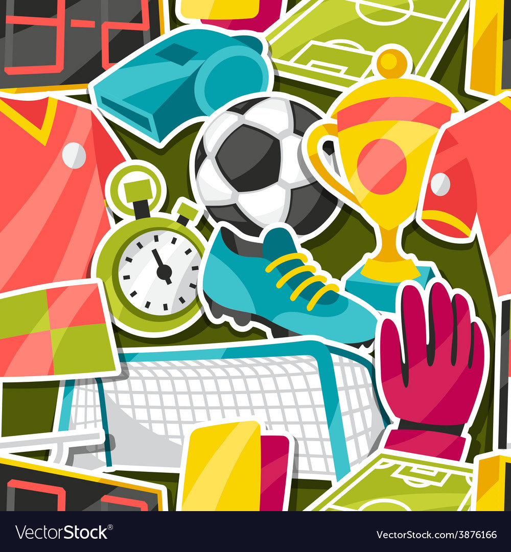 Sports seamless pattern with soccer sticker vector | Price: 1 Credit (USD $1)