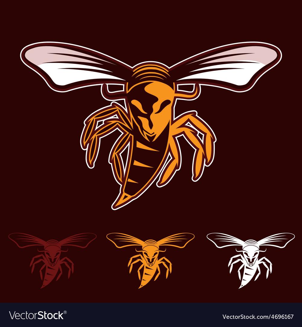 Aggressive bee or wasp mascot vector   Price: 1 Credit (USD $1)