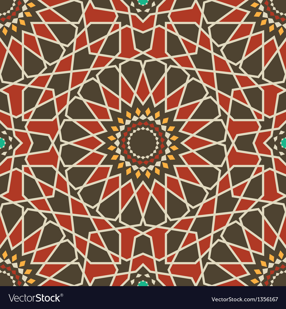 Arabesque seamless pattern in red and brown vector | Price: 1 Credit (USD $1)