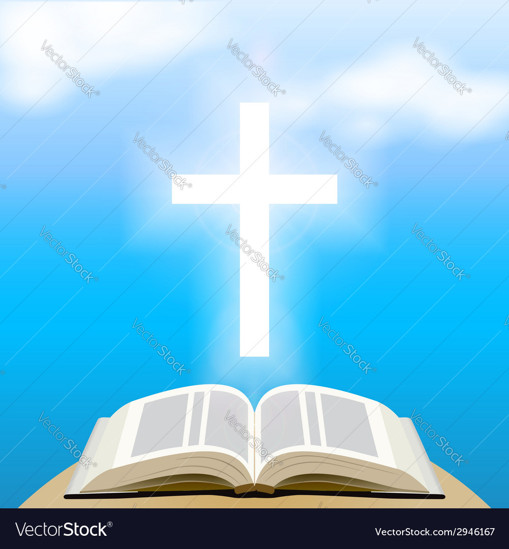 Bible and shining cross over blue sky vector | Price: 1 Credit (USD $1)