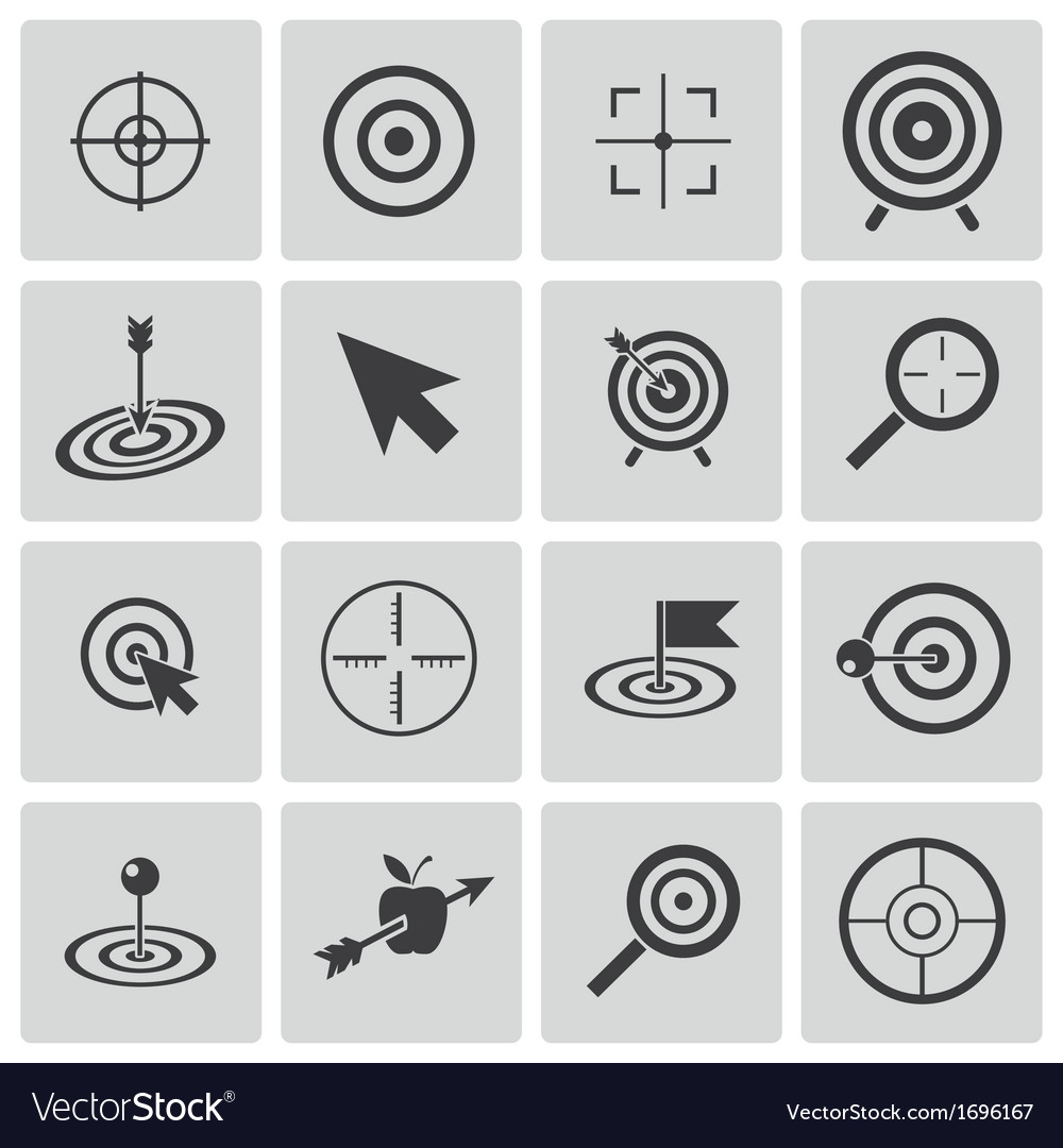 Black target icons set vector | Price: 1 Credit (USD $1)
