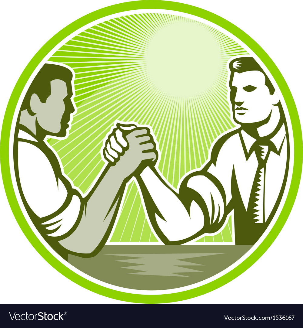 Businessman office worker arm wrestling vector | Price: 1 Credit (USD $1)
