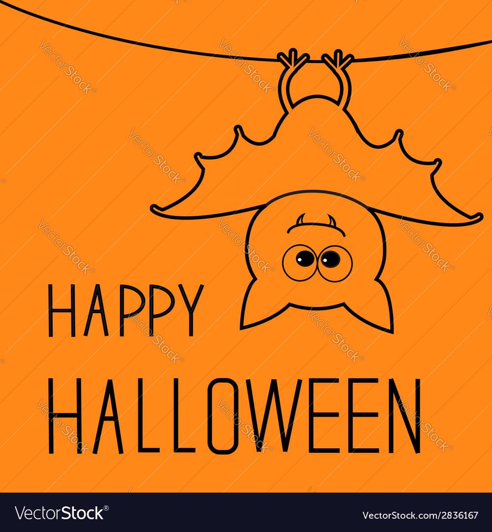Cute contour bat happy halloween card flat design vector | Price: 1 Credit (USD $1)