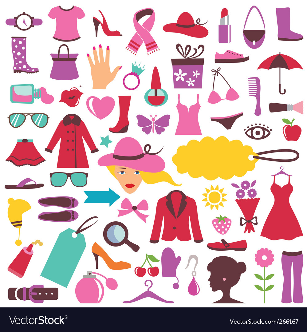 Fashion and beauty icons vector