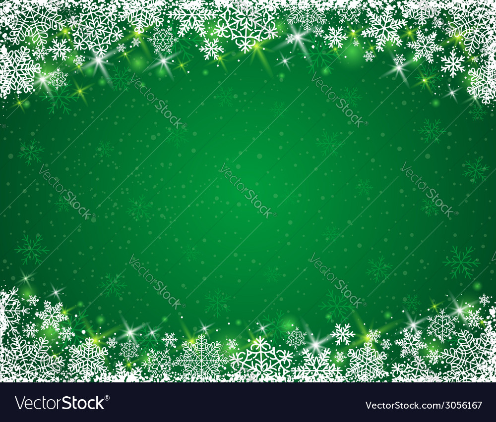 Green background with frame of snowflakes vector