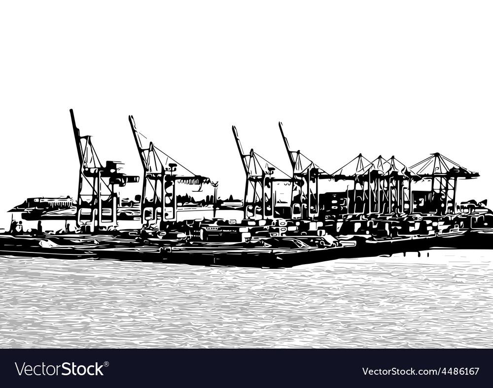 Harbor cranes vector | Price: 1 Credit (USD $1)