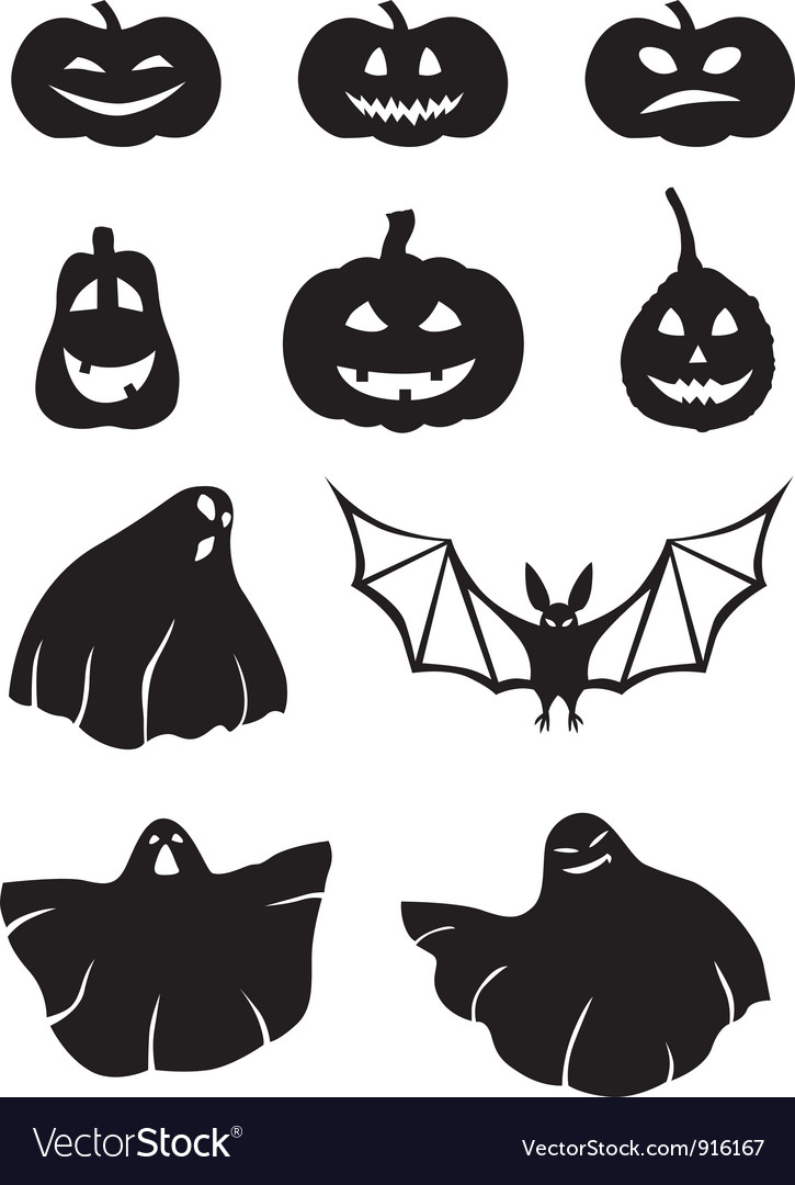 Pumpkin and ghosts vector | Price: 1 Credit (USD $1)