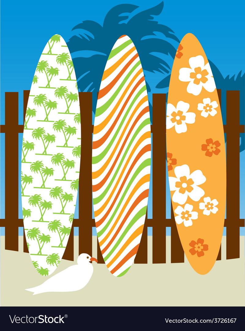 Surf board scene vector