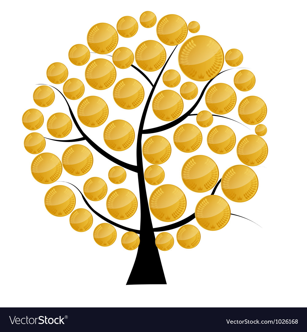 A money tree with coins vector | Price: 1 Credit (USD $1)