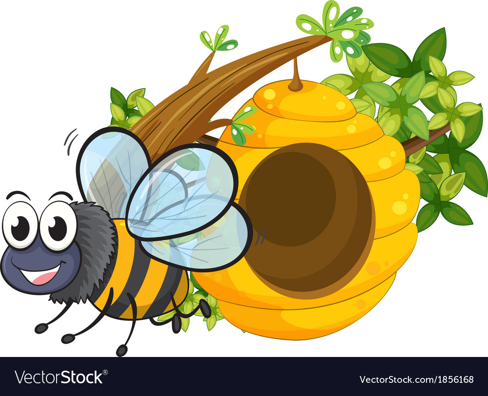 A smiling bee beside the beehive vector | Price: 1 Credit (USD $1)