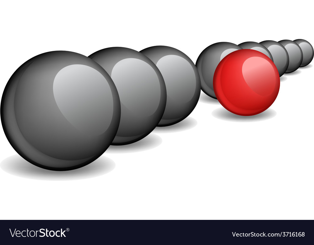 Black balls with one red ball standing ahead the vector | Price: 1 Credit (USD $1)