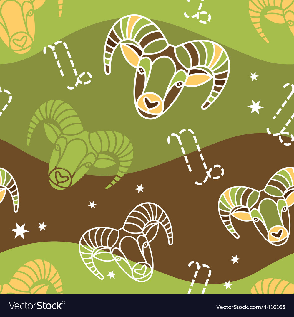 Capricorn - zodiac seamless pattern vector | Price: 1 Credit (USD $1)