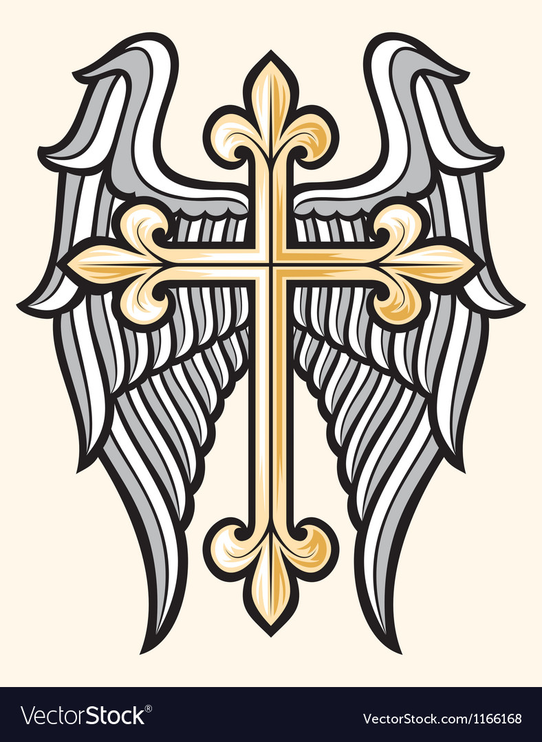 Christian cross and wings vector | Price: 1 Credit (USD $1)