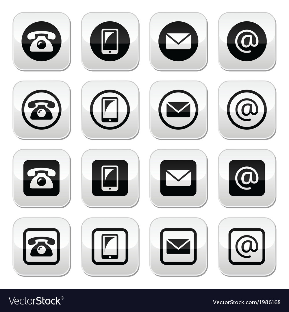 Contact buttons set - mobile phone email vector | Price: 1 Credit (USD $1)