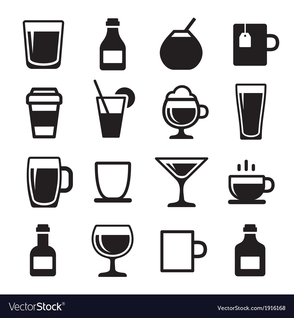 Drink and beverage icons set vector | Price: 1 Credit (USD $1)