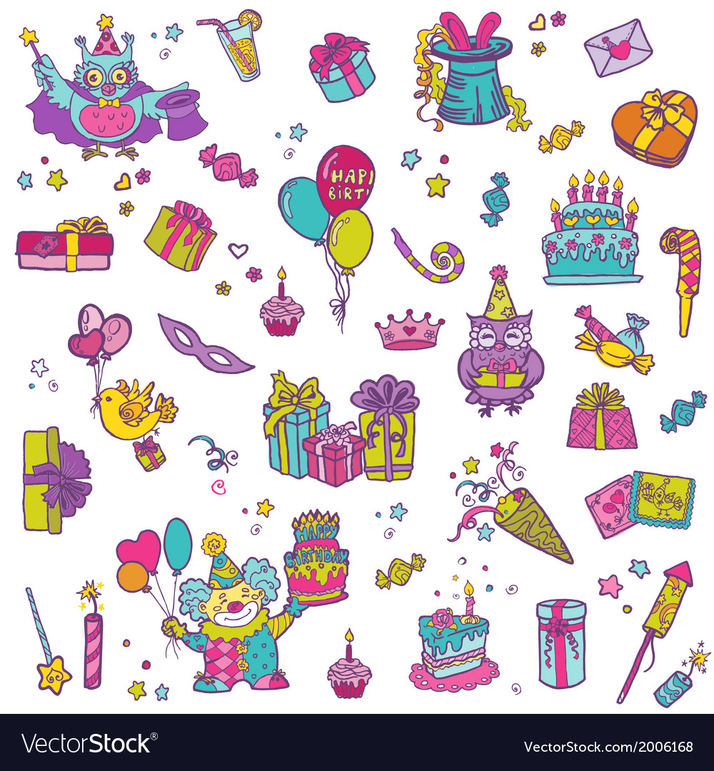 Hand drawn birthday celebration design elements vector | Price: 1 Credit (USD $1)