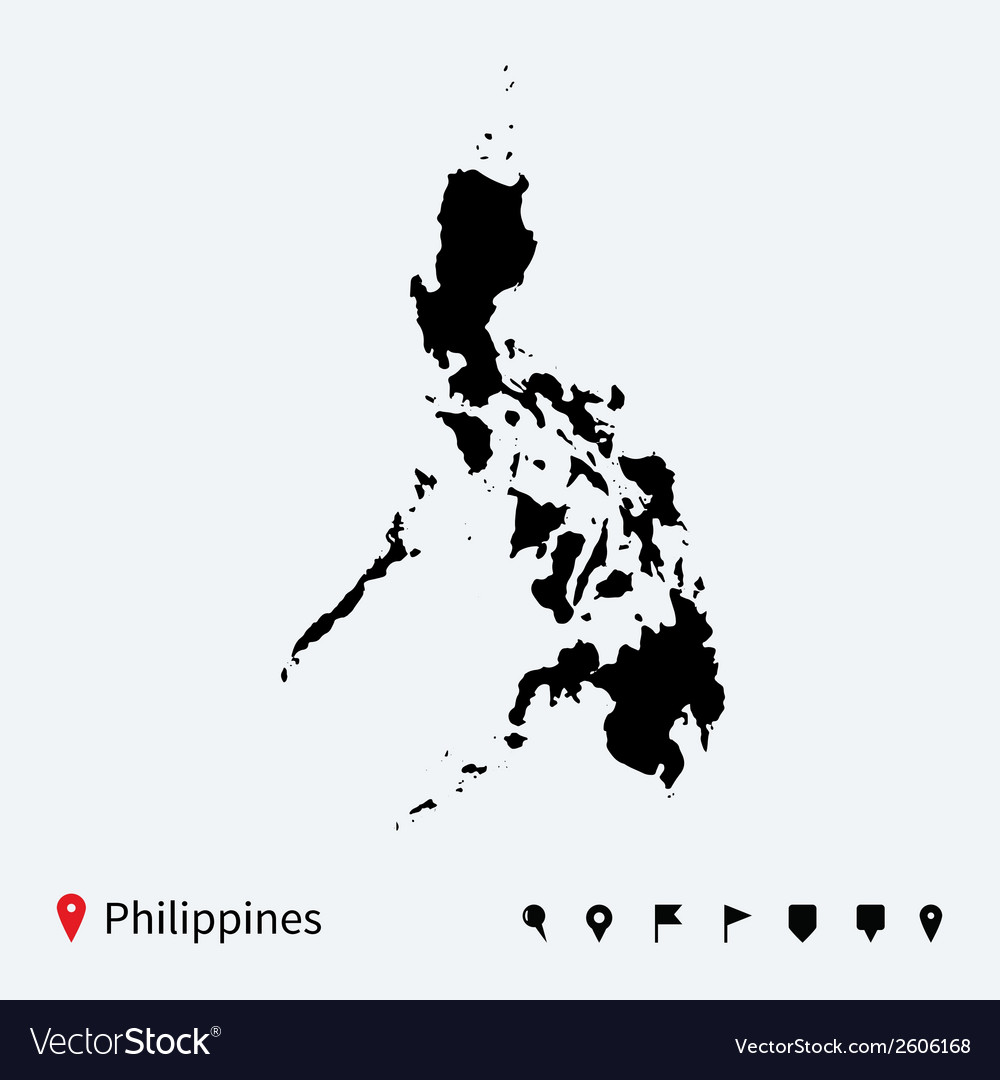 High detailed map of philippines with navigation vector | Price: 1 Credit (USD $1)