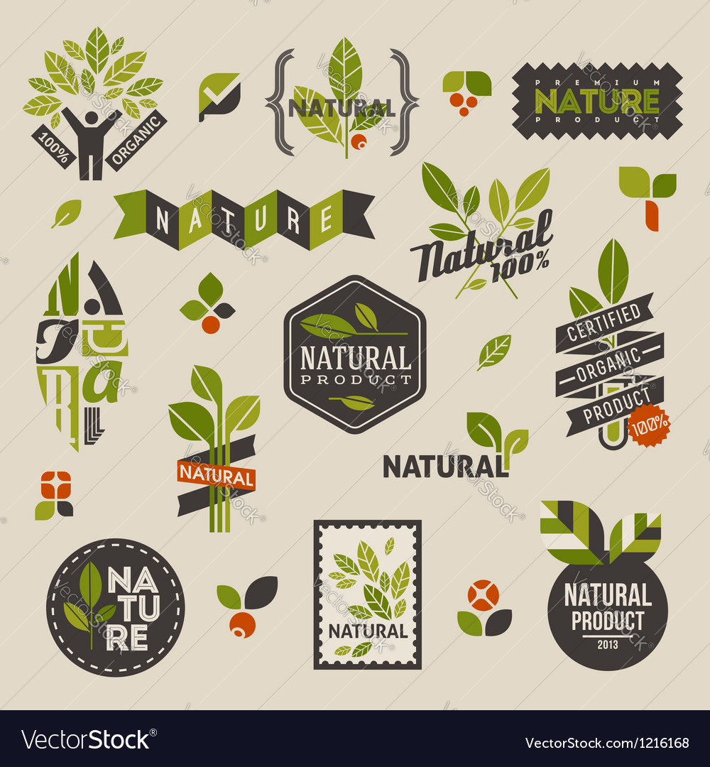 Nature labels and emblems with green leaves vector | Price: 1 Credit (USD $1)