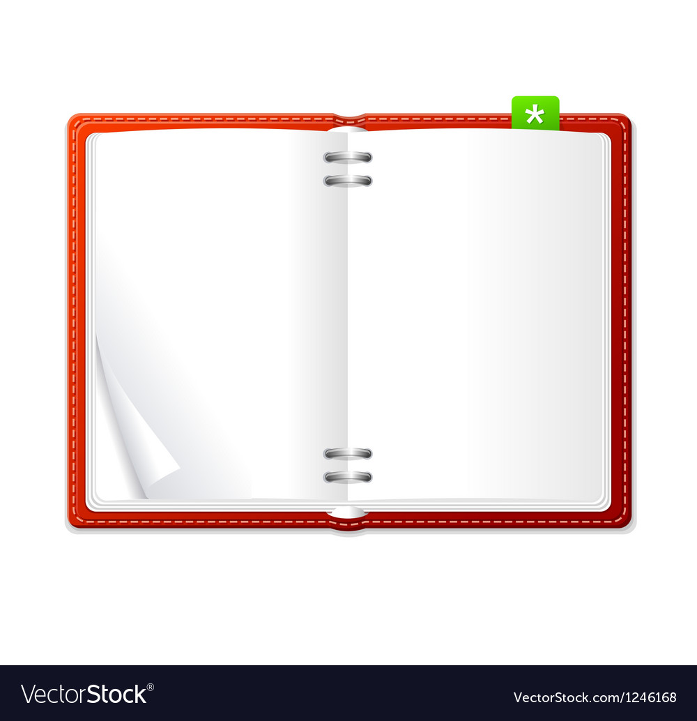 Open personal organizer book red vector | Price: 1 Credit (USD $1)