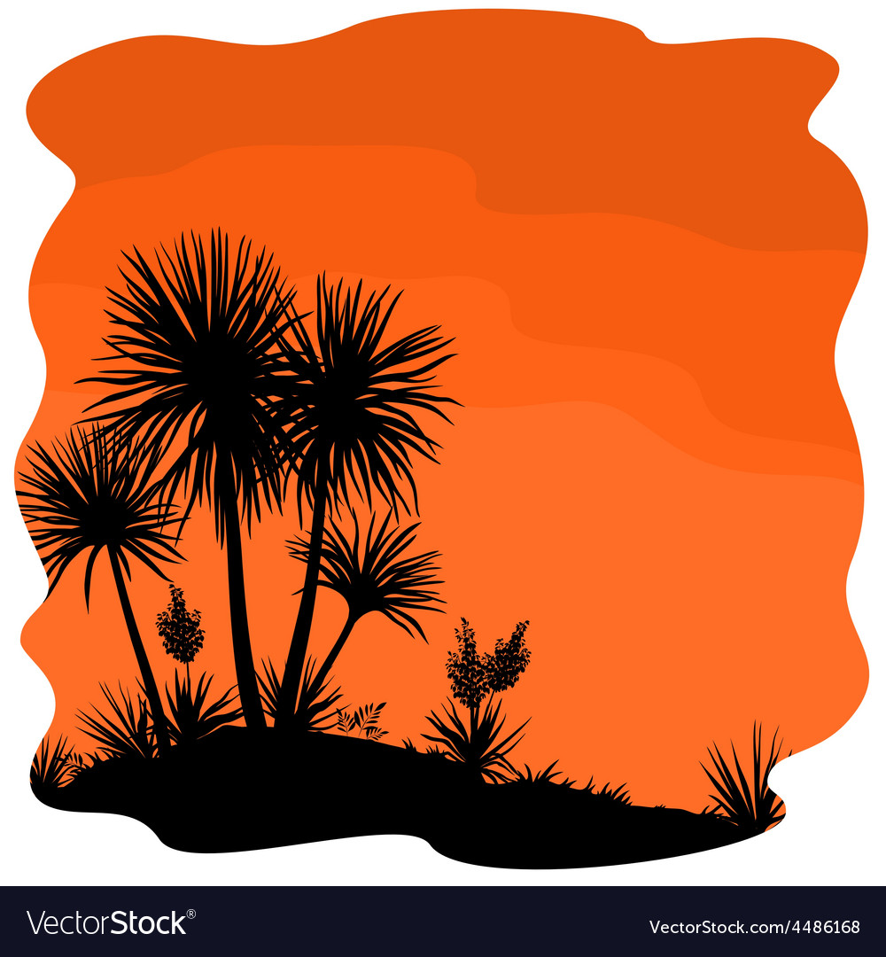 Palm tree and plants yucca silhouettes vector | Price: 1 Credit (USD $1)