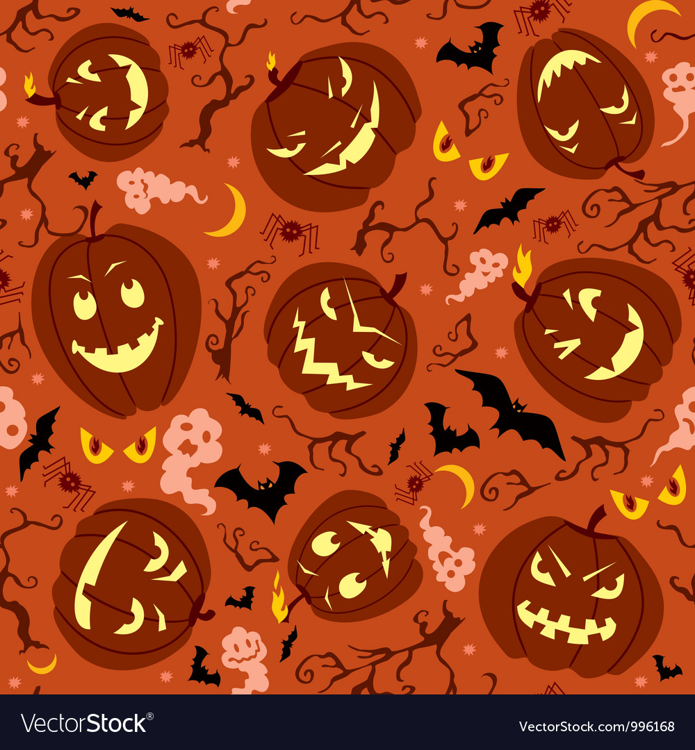 Scary pumpkins seamless pattern vector | Price: 1 Credit (USD $1)