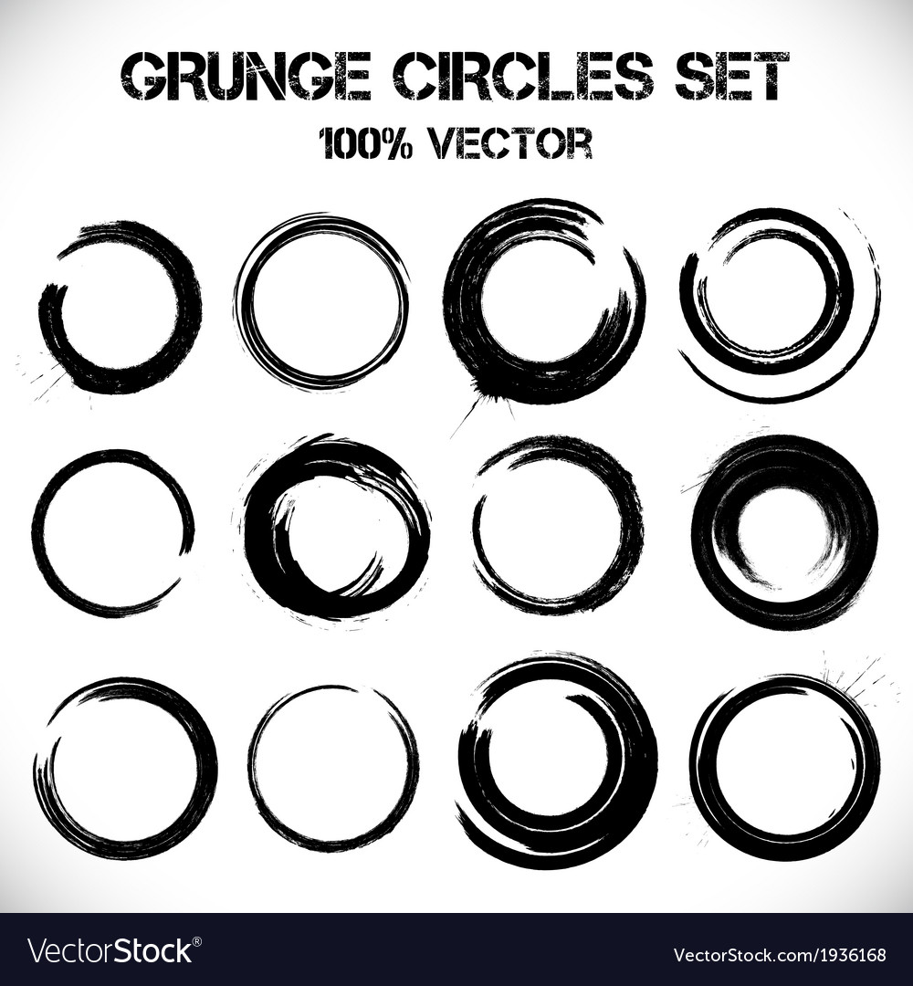 Set of grunge circles vector | Price: 1 Credit (USD $1)