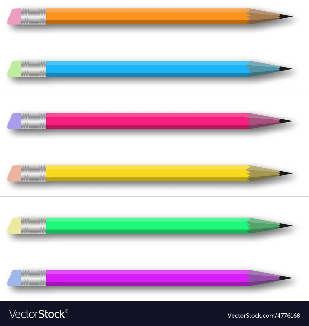 Set of multicolored pencils on white vector   Price: 1 Credit (USD $1)