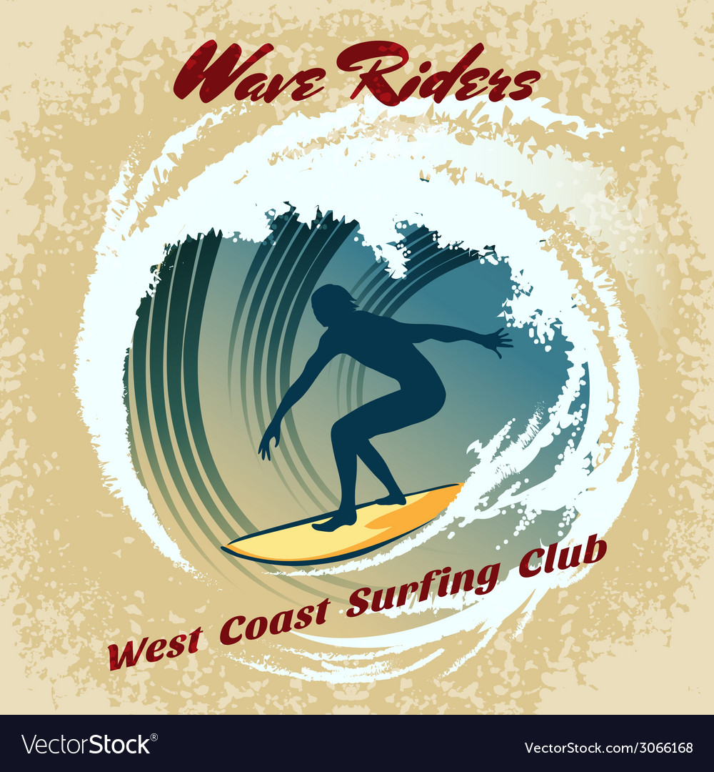 Wave riders surfing label vector | Price: 1 Credit (USD $1)