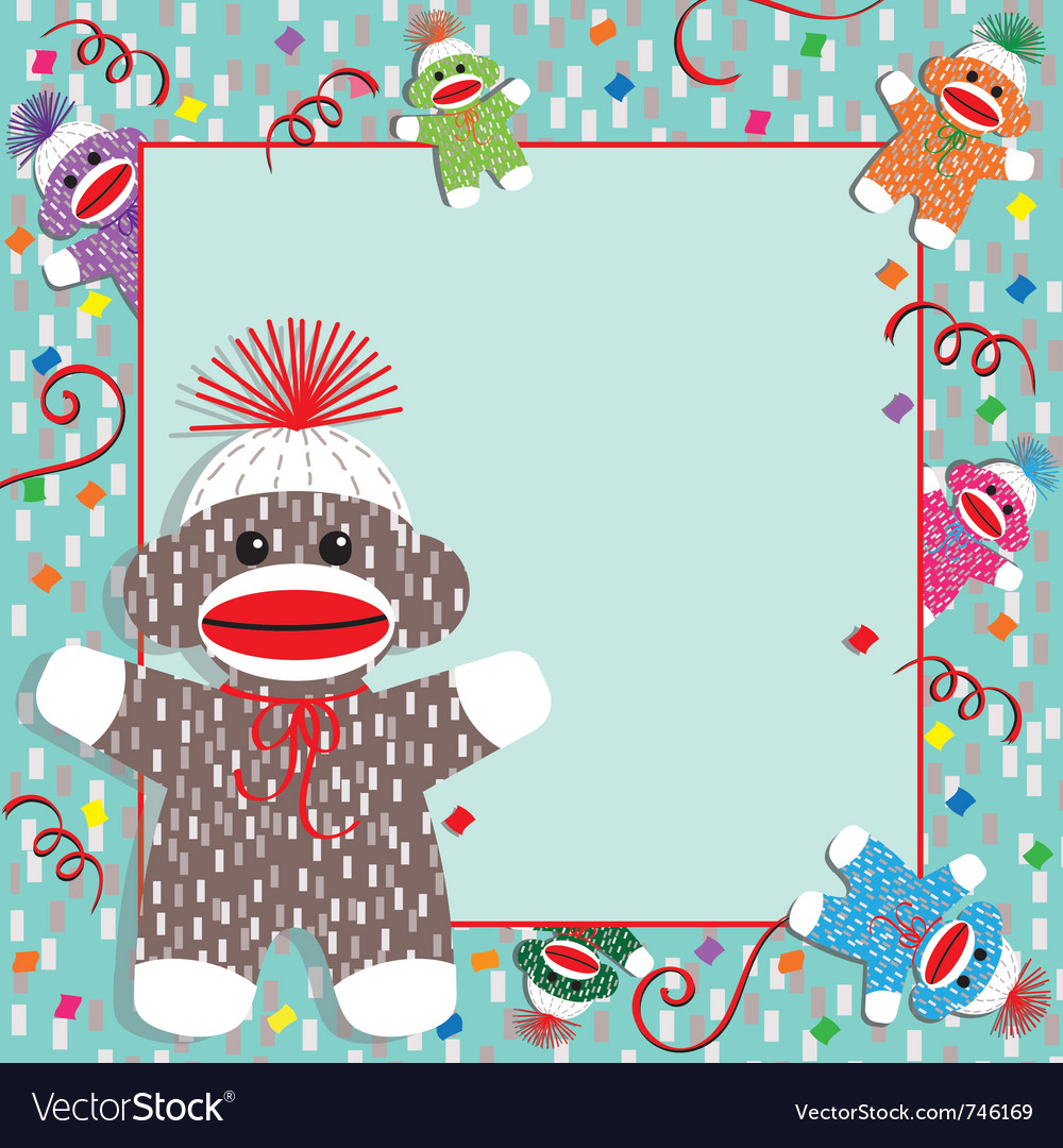 Baby sock monkey shower vector | Price: 1 Credit (USD $1)
