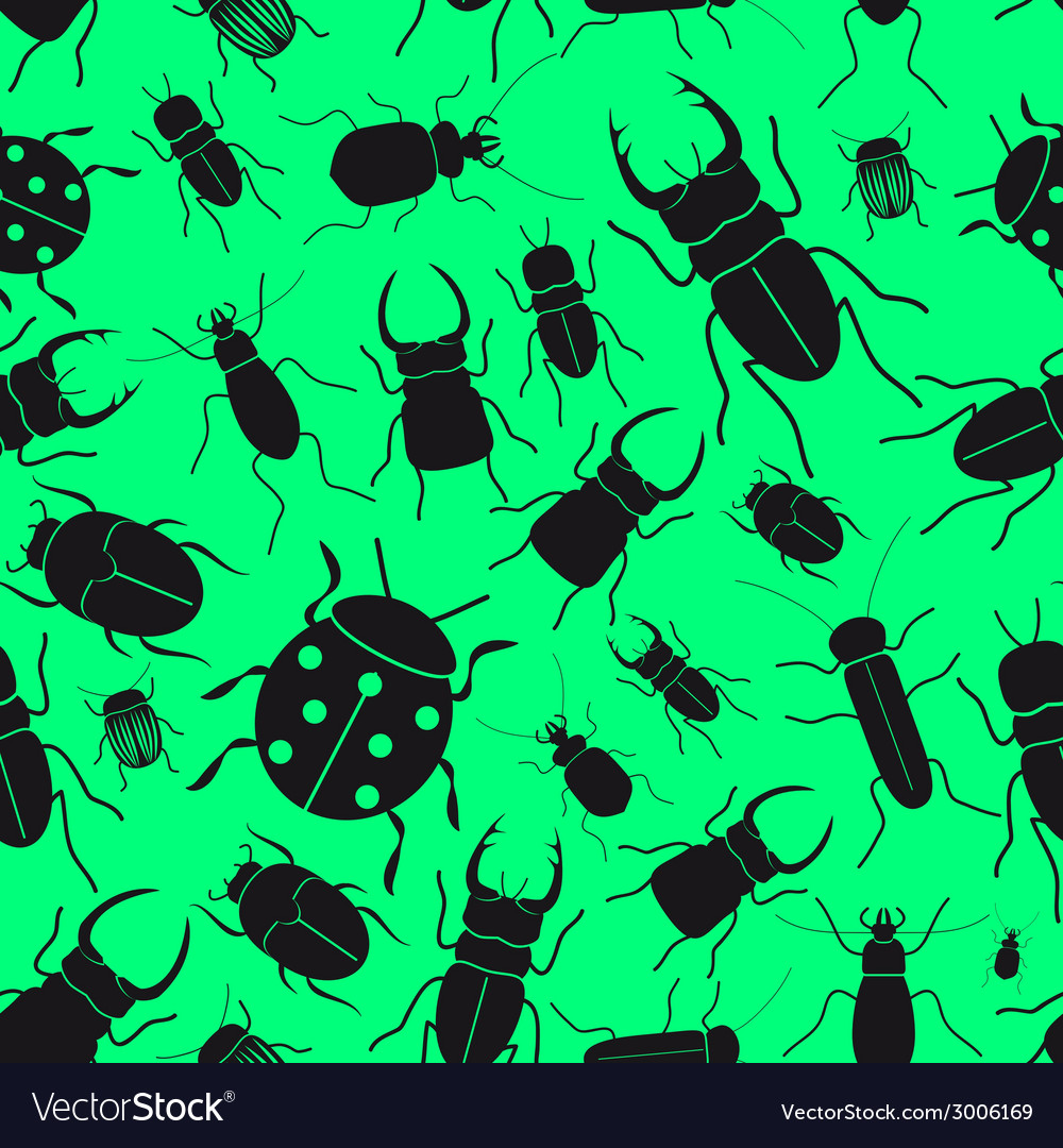 Black bugs and beetles green seamless pattern vector | Price: 1 Credit (USD $1)