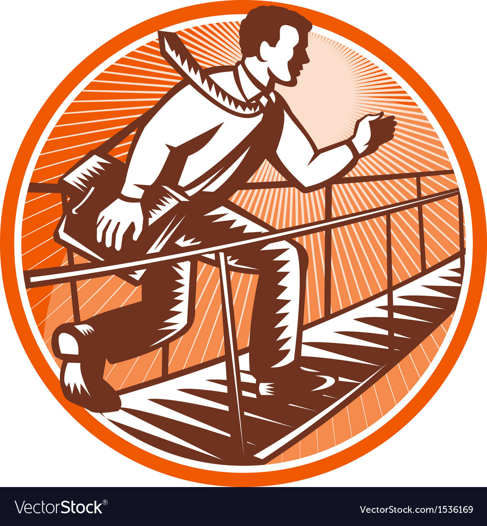 Businessman satchel bag running bridge vector | Price: 1 Credit (USD $1)